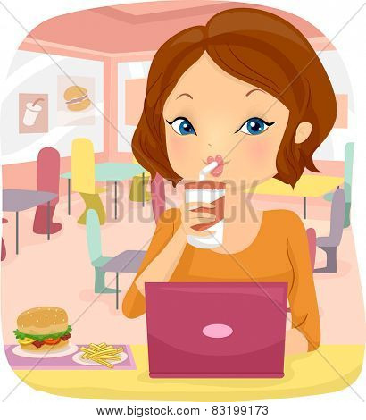 Illustration of a Woman Using Her Laptop at a Fast Food Restaurant