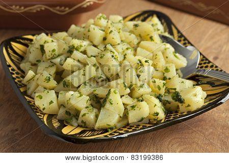 Traditional moroccan potato salad close up