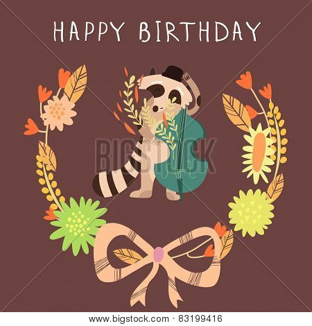 Cute Childish Card With Raccoon In Vector. Happy Birthday Invitation Background In Bright Colors