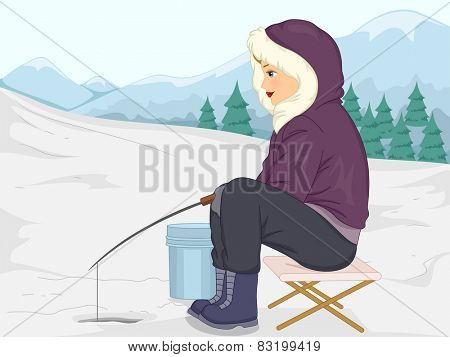 Illustration of a Girl in Thick Winter Clothing Fishing in the Ice