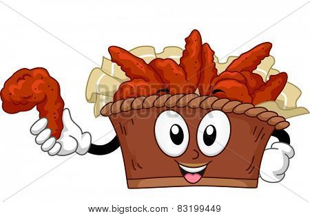 Mascot Illustration of a Bucket of Buffalo Wings
