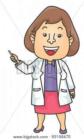 Illustration of a Doctor Dressed in a Lab Coat Giving a Presentation
