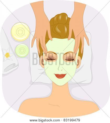Illustration of a Woman Having Her Head Massaged