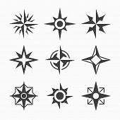 picture of wind-rose  - Wind rose icons - JPG