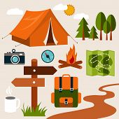 picture of boot camp  - Set of camping of adventure - JPG