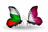 pic of qatar  - Two butterflies with flags on wings as symbol of relations Bulgaria and Qatar - JPG