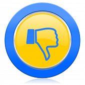 image of dislike  - dislike blue yellow icon thumb down sign  - JPG