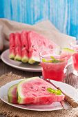 foto of watermelon slices  - Fresh ripe watermelon slices on a plate