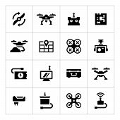 picture of drone  - Set icons of quadrocopter and drone parts and accessories isolated on white - JPG