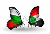 image of sudan  - Two butterflies with flags on wings as symbol of relations Bulgaria and Sudan - JPG