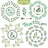 picture of laurel  - Set of watercolor wreaths and laurels - JPG