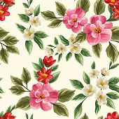 stock photo of floral bouquet  - Floral seamless pattern with pink - JPG