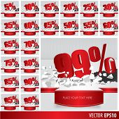 stock photo of 50s  - Red collection discount 5 10 15 20 25 30 35 40 45 50 55 60 65 70 75 80 85 90 95 99 percent on vector cracked ground on white background - JPG