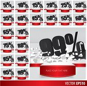 picture of 50s 60s  - Black collection discount 5 10 15 20 25 30 35 40 45 50 55 60 65 70 75 80 85 90 95 99 percent on vector cracked ground on white background - JPG