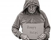 stock photo of compassion  - A sad Senior Homeless man isolated on white - JPG