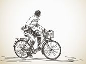 stock photo of hands-free  - Sketch of bicyclist looking back - JPG