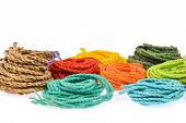 foto of mulberry  - colorful rope made from mulberry paper on white background - JPG