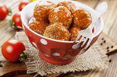 stock photo of ceramic bowl  - Meatballs in tomato sauce in the ceramic bowl - JPG