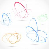 picture of orbit  - Bright swirl atom orbit element collection - JPG