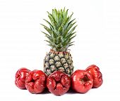 pic of tambis  - Rose apples or chomphu with pineapple isolated on white background - JPG