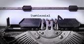 image of typewriter  - Vintage inscription made by old typewriter testimonial - JPG