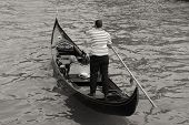 picture of gondolier  - Gondolier and gondola  - JPG