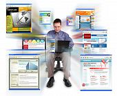 stock photo of web surfing  - A business man is sitting on a white - JPG