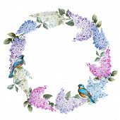 foto of mimosa  - Beautiful watercolor lilac wreath with piones and mimosa - JPG