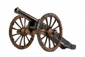 stock photo of cannon  - cannon on a wheeled carriage old vintage antique - JPG