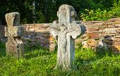image of crucifix  - Old crucifix gravestones in Pyrohiv near Kyiv Ukraine - JPG
