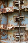 picture of formwork  - Rusty metal formwork used for building the concrete constructions - JPG