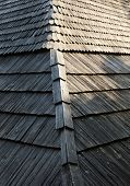 stock photo of shingles  - Old wooden shingle roof with rich texture - JPG