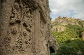 stock photo of armenia  - Geghard monastary in Armenia is partially carved out of the mountain and display architecture and art from the medeval period - JPG