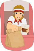 stock photo of clip-art staff  - Illustration of a Female Fast Food Attendant Manning the Drive Thru Booth - JPG