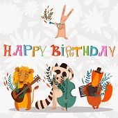 image of zoo animals  - Stylish Happy birthday background - JPG