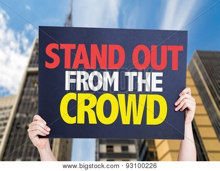 Stand Out From the Crowd card with urban background
