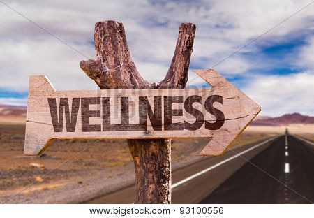 Wellness direction sign with road background