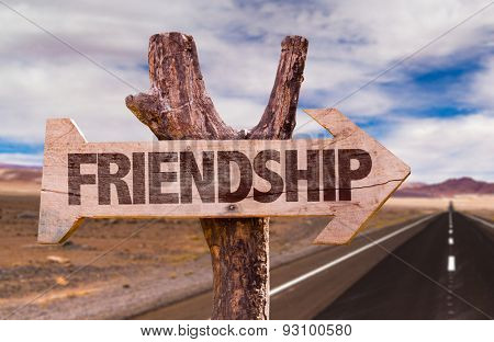 Friendship direction sign with road background