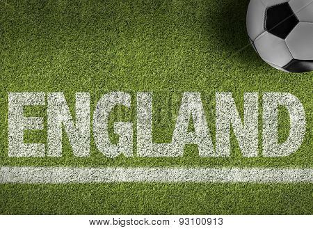 Soccer field with the text: England