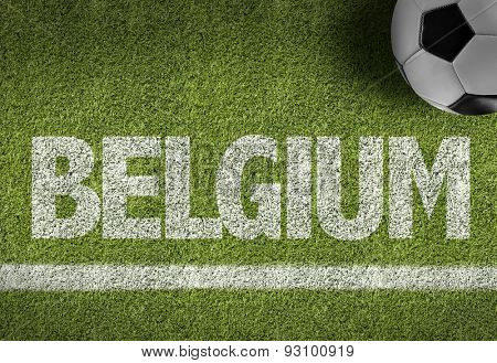 Soccer field with the text: Belgium