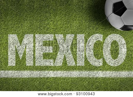 Soccer field with the text: Mexico