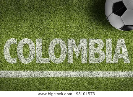 Soccer field with the text: Colombia