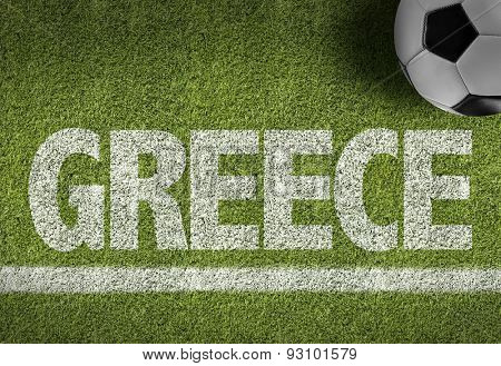 Soccer field with the text: Greece