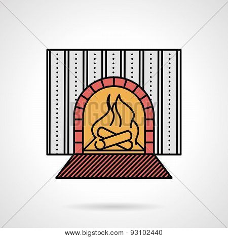 Fire place flat color vector icon