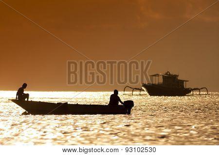 Sunset scene of  fisherman boat