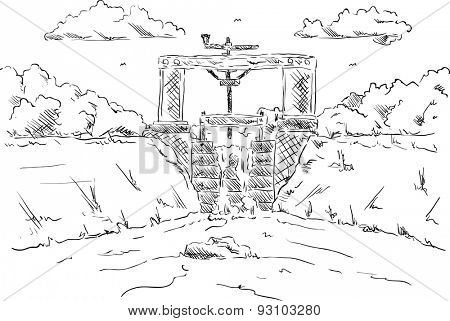 Vector - the flood gate at the pond - isolated on background