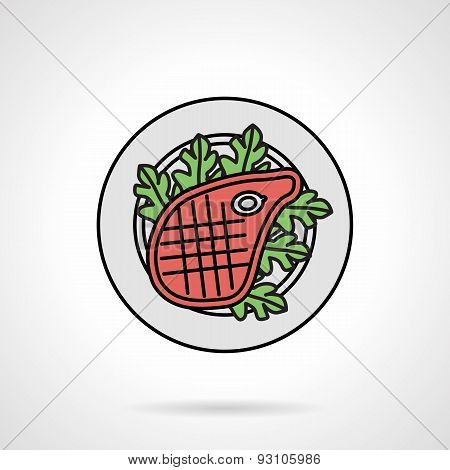 Steak flat color vector icon