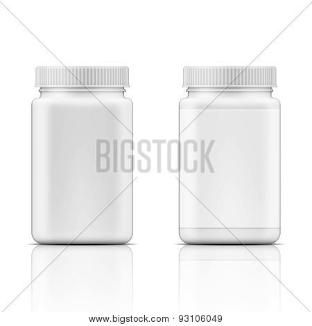 White square plastic bottle for pills.