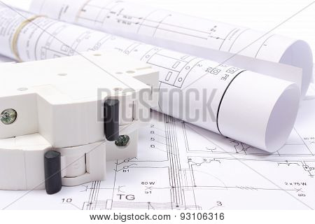 Rolled Electrical Diagrams And Electric Fuse On Construction Drawing Of House