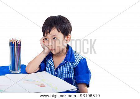 Boy Thinking And Boring Emotion